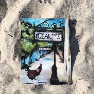 fogarty's street scene with chicken metal sign